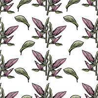 patrón transparente con contorno de magnolia negra. Ilustración de vector dibujado a mano de flor de primavera. blanco y negro con arte lineal sobre fondos blancos