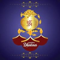Indian festival greeting card with gold coin pot vector