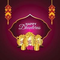 tarjeta de felicitación del festival indio con olla de monedas de oro vector