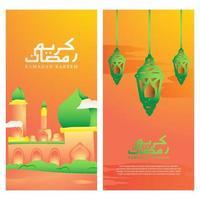 Horizontal illustration banner ramadan design set vector