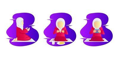 Illustration ramadan activity girl collection design set vector