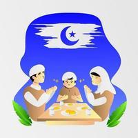 Familia musulmana rezando comiendo con cara feliz, diseño de ilustraciones vector