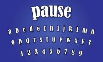 pausar el texto del alfabeto vector