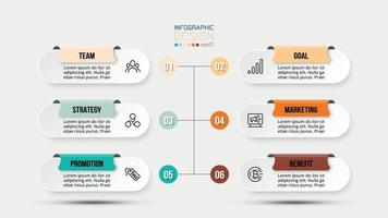 6 step process work flow infographic template. vector