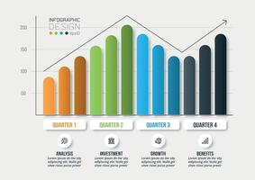 Infographic business template with graph or chart design. vector