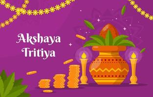 Akshaya Tritiya Background in Flat Design vector