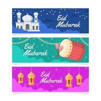 Eid Mubarak Greeting Banner vector