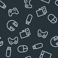 Seamless pattern with gaming equipment. Six items on gray background - headphones, flash drive, mouse, PC, gamepad, tablet. vector