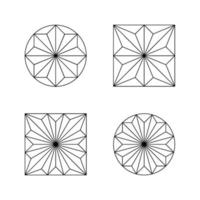 Set of four vector rosettes in line style. Geometric rosaces composed of triangles. Architectural decorations enclosed in the shape of a circle or square.