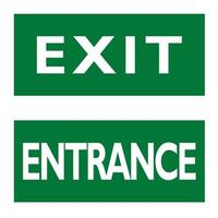 Exit and Entrance signs. English white text on green background. vector