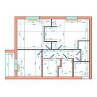 Plano de departamento con dimensiones. modelo de vector en colores. dos habitaciones, dos baños y aseos, cocina, hall de entrada y logia.