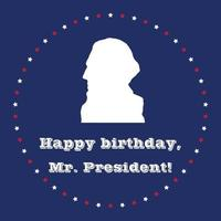 Presidents Day art with George Washington white silhouette on blue background. vector
