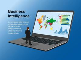 Vector illustration of business intelligence. A man on a large laptop looking at a map, graphs and charts. There is a pattern of text. Isometry. Cartoon style.