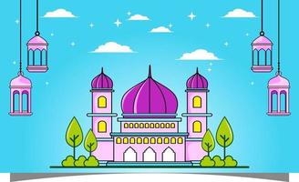 Islamic background with mosque. Islamic banners. vector
