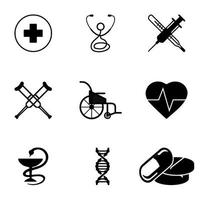 Medical Icons Set Number 2. Heart, emergency care, disability pharmacy etc vector