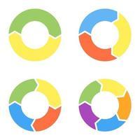 conjunto de cuatro elementos circulares para infografías. preajustes vectoriales para gráficos circulares. punteros circulares para presentaciones con diferente número de pasos. vector