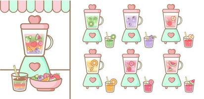 lindo jugo de licuadora frutas vector