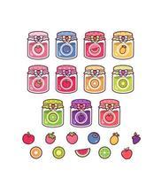 cute fruits jams set vector