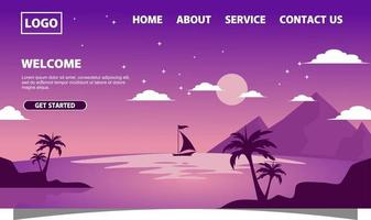 Landing page with purple background and boat on full moon night vector