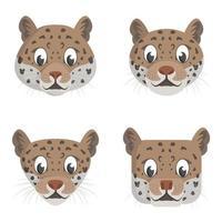 Set of cartoon jaguars. vector