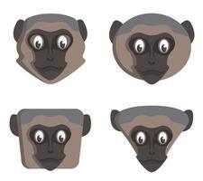 Set of cartoon vervet monkeys. vector