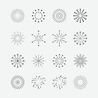 Ilustración vectorial de conjunto de iconos de fuegos artificiales. simbolos de celebracion vector