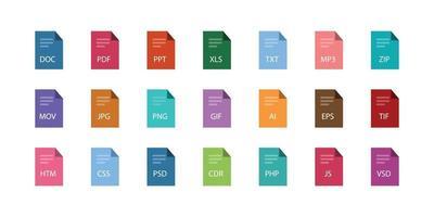 Conjunto diferente de extensiones de archivo estilo plano vectorial para diseño web. vector