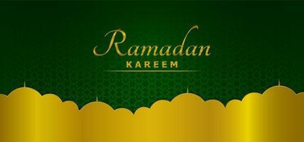 Hermoso fondo de plantilla de Ramadán verde y dorado vector