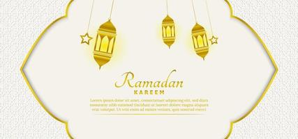 Beautiful islamic ramadan background template with white and gold color vector