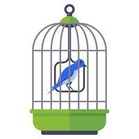 pájaro azul en una jaula de hierro. mascota emplumada casera. ilustración vectorial plana. vector