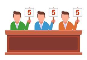 concurso donde el jurado levanta los carteles y da puntos. ilustración vectorial plana. vector