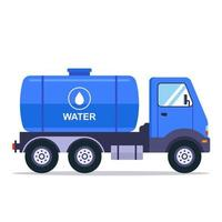 Blue truck with a tank for transporting water. Flat vector illustration isolated on white background.