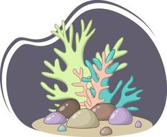 Vector composition of green, blue and orange corals in pastel colors and stones on a dark background.