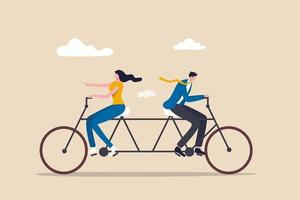 Business conflict, controversy or disagreement causing problem and failure concept, businessman and businesswoman colleagues trying hard riding bicycle in opposite direction. vector