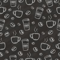 hand drawn coffee bean and cup seamless background vector