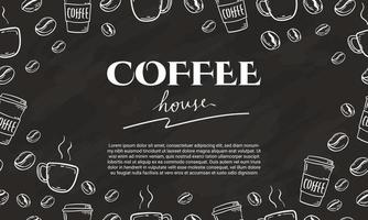 hand drawn coffee bean and cup vector