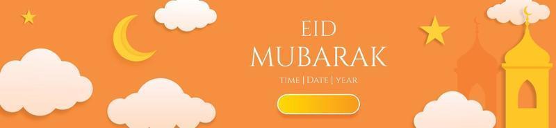 Banner horizontal 3d eid mubarak o plantilla de encabezado con nubes de luna y estrellas vector
