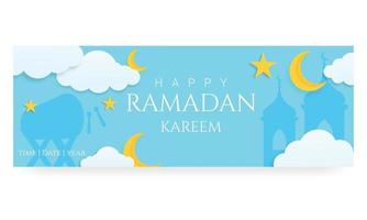 Banner horizontal 3d ramadan kareem o plantilla de encabezado con nubes de luna y estrellas vector