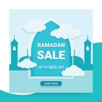 3D Ramadan Sale banner, Ramadan Social media template vector