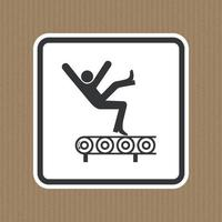 Fall Hazard From Conveyor Symbol Sign Isolate on White Background,Vector Illustration