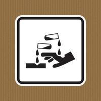 Cuidado con el símbolo de la sustancia corrosiva aislar sobre fondo blanco, ilustración vectorial vector