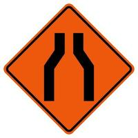Narrowing Of The Road Traffic Symbol Sign Isolate on White Background,Vector Illustration vector
