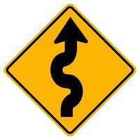 Warning signs Winding road, first bend to right on white background vector