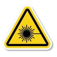 Cuidado con el signo de símbolo de rayo láser aislado sobre fondo blanco, ilustración vectorial vector