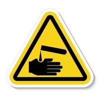 Cuidado con el símbolo de corrosivos aislar sobre fondo blanco, ilustración vectorial eps.10 vector