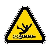 El transportador expuesto de advertencia y las piezas móviles causarán lesiones en el servicio o signo de símbolo de muerte aislado sobre fondo blanco, ilustración vectorial vector