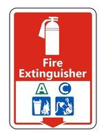 Symbol Fire Extinguisher A C Sign on white background vector