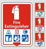 Symbol Fire Extinguisher A B C Sign on transparent background vector