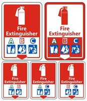 Symbol Fire Extinguisher A B C Sign on white background vector