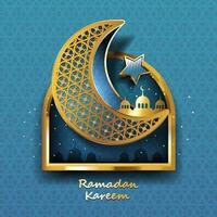 Ramadan Kareem design with Gold arabic Lamp. Vector illustration.